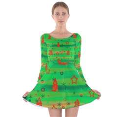 Green Xmas magic Long Sleeve Velvet Skater Dress