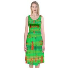 Green Xmas magic Midi Sleeveless Dress
