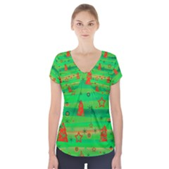 Green Xmas magic Short Sleeve Front Detail Top