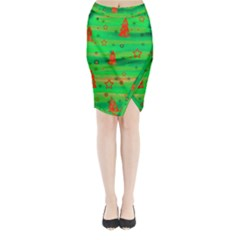 Green Xmas magic Midi Wrap Pencil Skirt