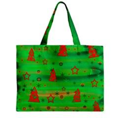 Green Xmas magic Medium Zipper Tote Bag