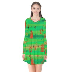 Green Xmas magic Flare Dress