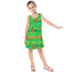 Green Xmas magic Kids  Sleeveless Dress