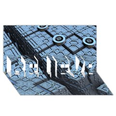 Grid Maths Geometry Design Pattern BELIEVE 3D Greeting Card (8x4)