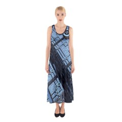 Grid Maths Geometry Design Pattern Sleeveless Maxi Dress