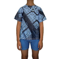 Grid Maths Geometry Design Pattern Kids  Short Sleeve Swimwear