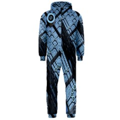 Grid Maths Geometry Design Pattern Hooded Jumpsuit (Men)