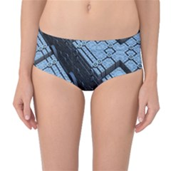 Grid Maths Geometry Design Pattern Mid-Waist Bikini Bottoms