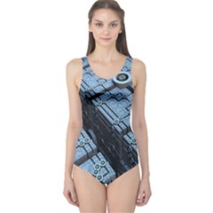 Grid Maths Geometry Design Pattern One Piece Swimsuit