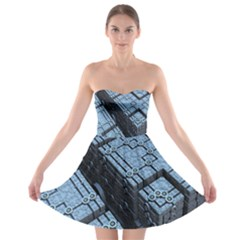 Grid Maths Geometry Design Pattern Strapless Bra Top Dress