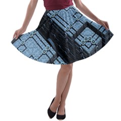 Grid Maths Geometry Design Pattern A-line Skater Skirt