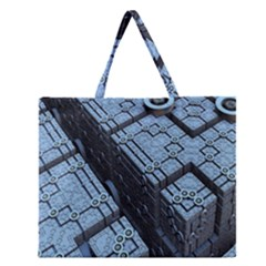 Grid Maths Geometry Design Pattern Zipper Large Tote Bag