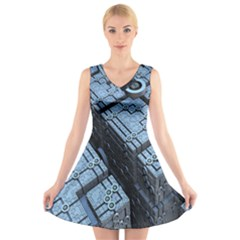Grid Maths Geometry Design Pattern V-Neck Sleeveless Skater Dress