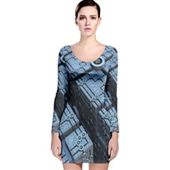 Grid Maths Geometry Design Pattern Long Sleeve Velvet Bodycon Dress
