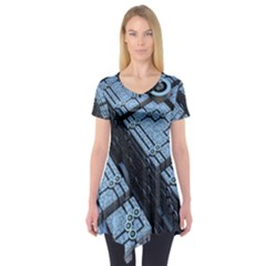 Grid Maths Geometry Design Pattern Short Sleeve Tunic