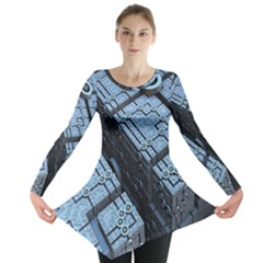 Grid Maths Geometry Design Pattern Long Sleeve Tunic
