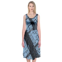 Grid Maths Geometry Design Pattern Midi Sleeveless Dress