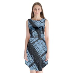 Grid Maths Geometry Design Pattern Sleeveless Chiffon Dress