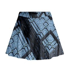 Grid Maths Geometry Design Pattern Mini Flare Skirt