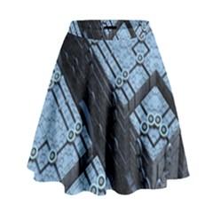 Grid Maths Geometry Design Pattern High Waist Skirt