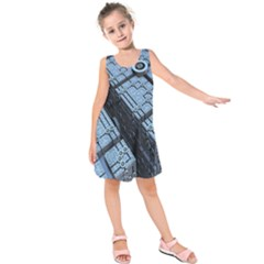 Grid Maths Geometry Design Pattern Kids  Sleeveless Dress