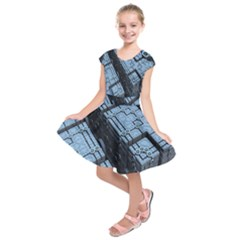 Grid Maths Geometry Design Pattern Kids  Short Sleeve Dress