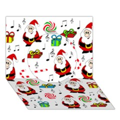 Xmas song Circle 3D Greeting Card (7x5)