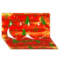 Christmas magic Twin Hearts 3D Greeting Card (8x4)