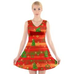 Christmas magic V-Neck Sleeveless Skater Dress
