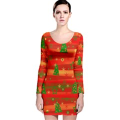 Christmas magic Long Sleeve Velvet Bodycon Dress