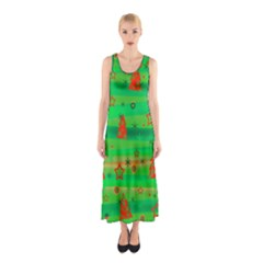 Xmas magical design Sleeveless Maxi Dress