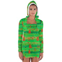 Xmas magical design Women s Long Sleeve Hooded T-shirt