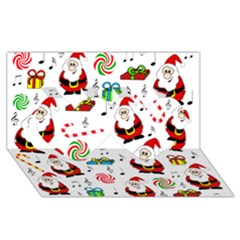 Xmas Song Twin Hearts 3d Greeting Card (8x4)