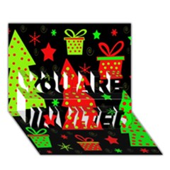 Merry Xmas YOU ARE INVITED 3D Greeting Card (7x5)