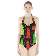 Merry Xmas Halter Swimsuit