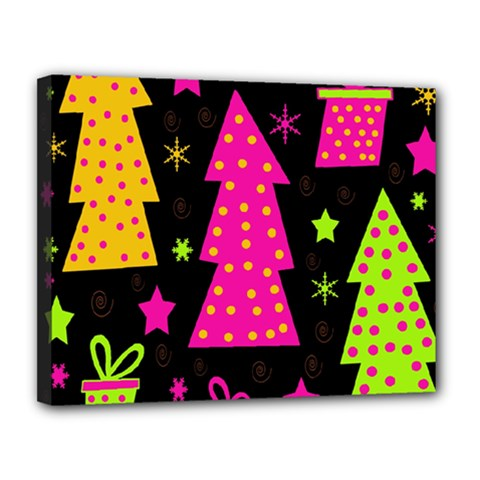 Colorful Xmas Canvas 14  x 11