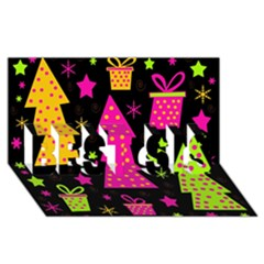 Colorful Xmas BEST SIS 3D Greeting Card (8x4)