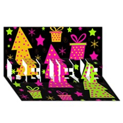 Colorful Xmas BELIEVE 3D Greeting Card (8x4)