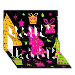 Colorful Xmas You Rock 3D Greeting Card (7x5)