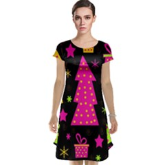 Colorful Xmas Cap Sleeve Nightdress