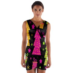 Colorful Xmas Wrap Front Bodycon Dress