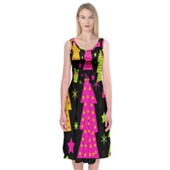 Colorful Xmas Midi Sleeveless Dress