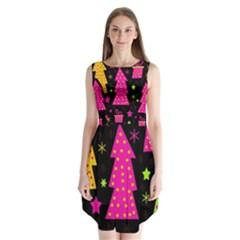 Colorful Xmas Sleeveless Chiffon Dress