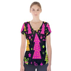 Colorful Xmas Short Sleeve Front Detail Top