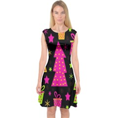Colorful Xmas Capsleeve Midi Dress