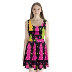 Colorful Xmas Split Back Mini Dress
