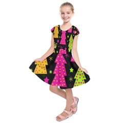 Colorful Xmas Kids  Short Sleeve Dress