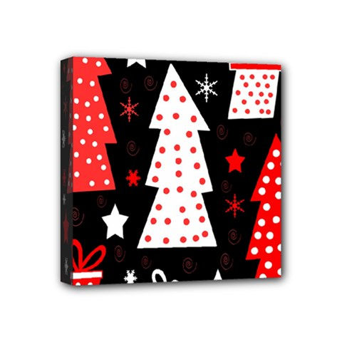 Red playful Xmas Mini Canvas 4  x 4