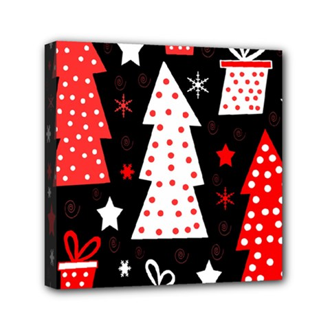 Red playful Xmas Mini Canvas 6  x 6