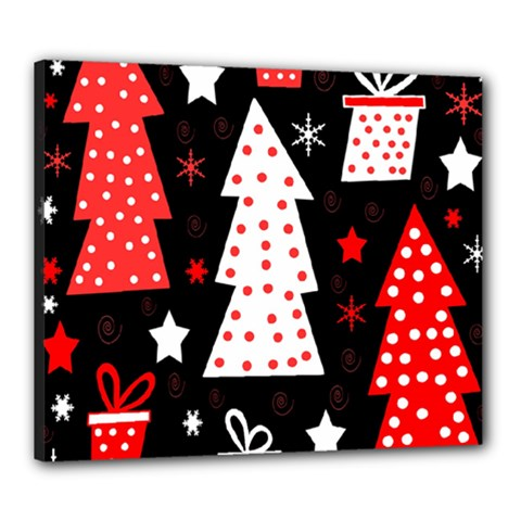 Red playful Xmas Canvas 24  x 20